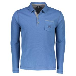 Langarmpolo in schöner Melange LIGHT BLUE | 5XL