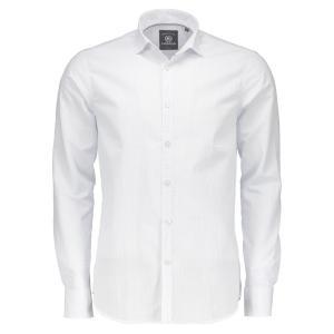 Langarmhemd in Struktur-Check WHITE | XL
