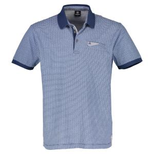 Halbarm Polo mit Alloverprint VINTAGE BLUE | XL