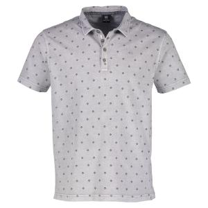 Kurzarm Polo mit Rautenprint PALE GREY | XXL