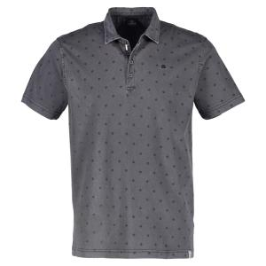 Kurzarm Polo mit Rautenprint ROCK GREY | XL