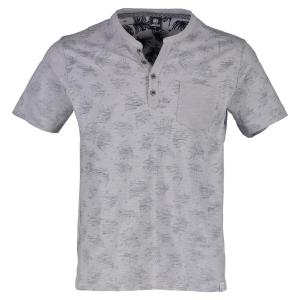 Kurzarm Serafino mit Inside-Out-Print PALE GREY | 5XL