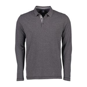 Langarmpolo in Fancy Melange ROCK GREY | 5XL
