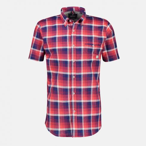 Halbarmhemd *Cube Check* CORAL RED | L