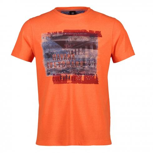 T-Shirt mit Applikation NEON CORAL | XL