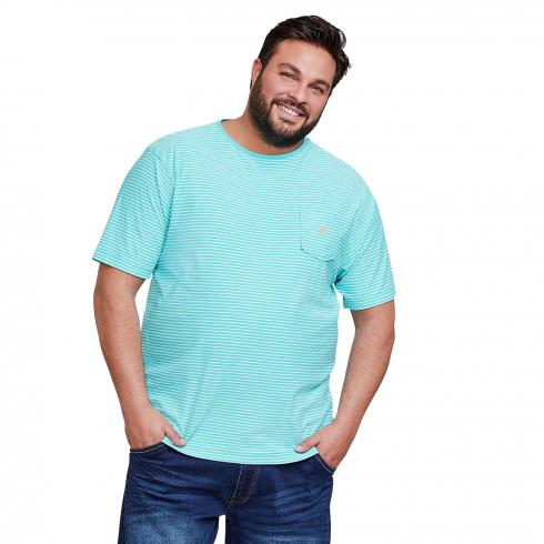 T-Shirt mit Streifenmuster LIGHT BLUE | 4XL