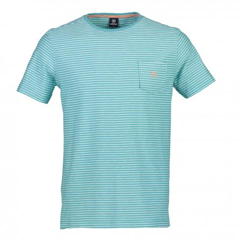T-Shirt mit Streifenmuster LIGHT BLUE | L