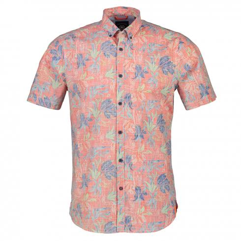 Kurzarmhemd mit Tropical-Print HOT CORAL | M
