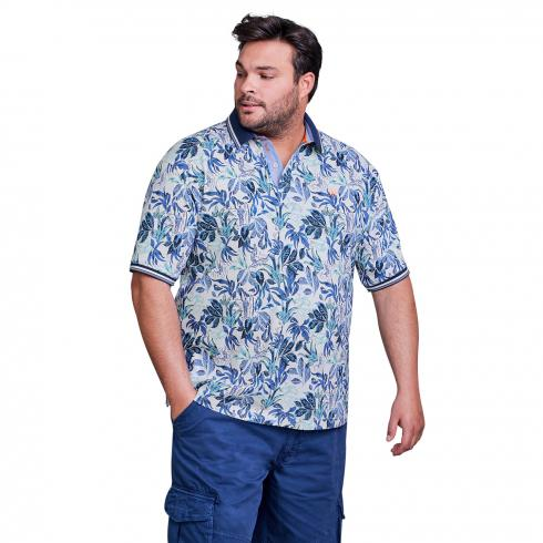 Halbarm Polo mit Tropical-Print
