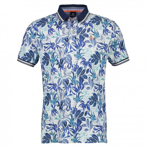 Kurzarm Polo mit Tropical-Print