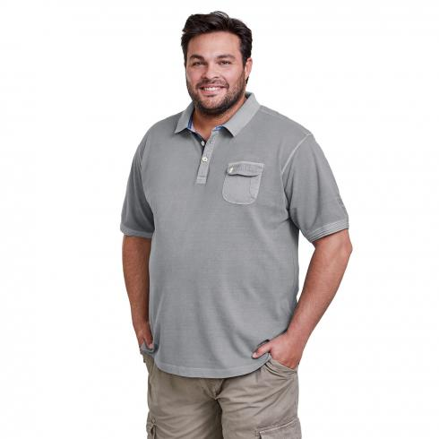 Halbarm Polo mit Used-Optik SOFT GREY | 5XL