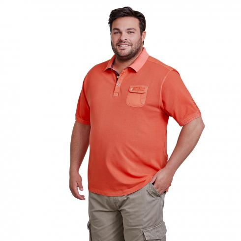 Halbarm Polo mit Used-Optik HOT CORAL | 2XL