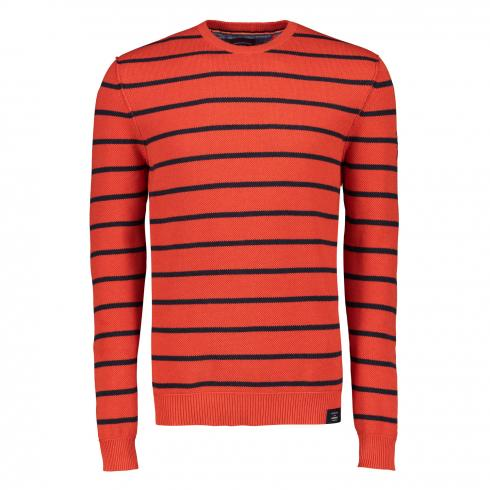Gestreifter Rundhals Pullover SHARP ORANGE MELANGE | L