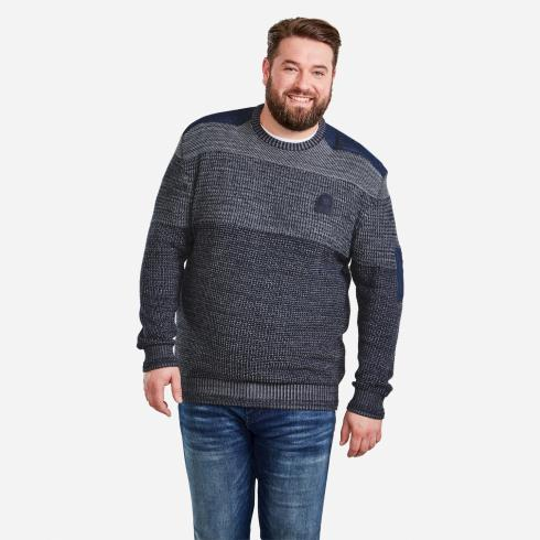 Pullover mit Strickkombinationen DARK NAVY | 3XL