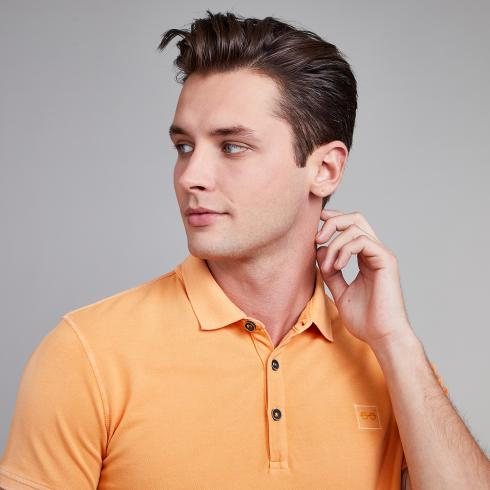 Poloshirt mit Logo-Patch TRUE ORANGE | L