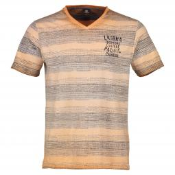 V-Neck T-Shirt mit Inside-Out-Print